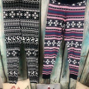 Holiday leggings LOT OF 2 SZ M NWOT